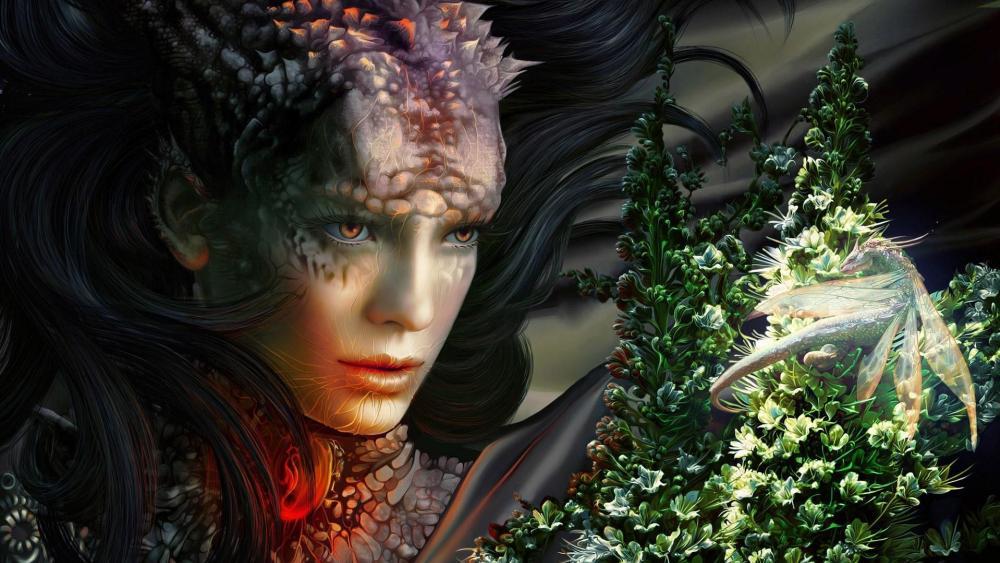 Woman dragon art wallpaper