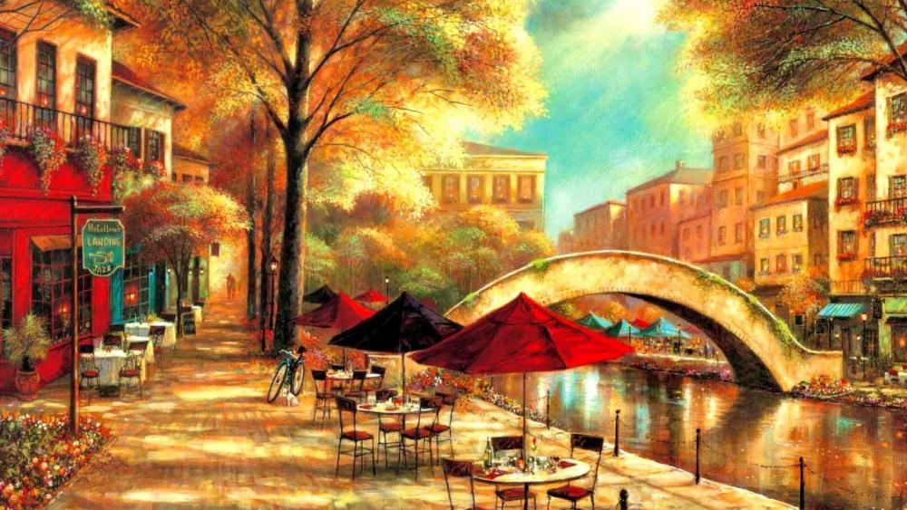 Riverwalk Café wallpaper