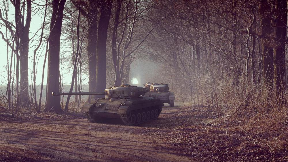 Tanks in the forest wallpaper