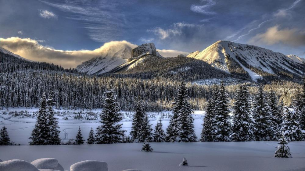 Winter mountains landscape wallpaper