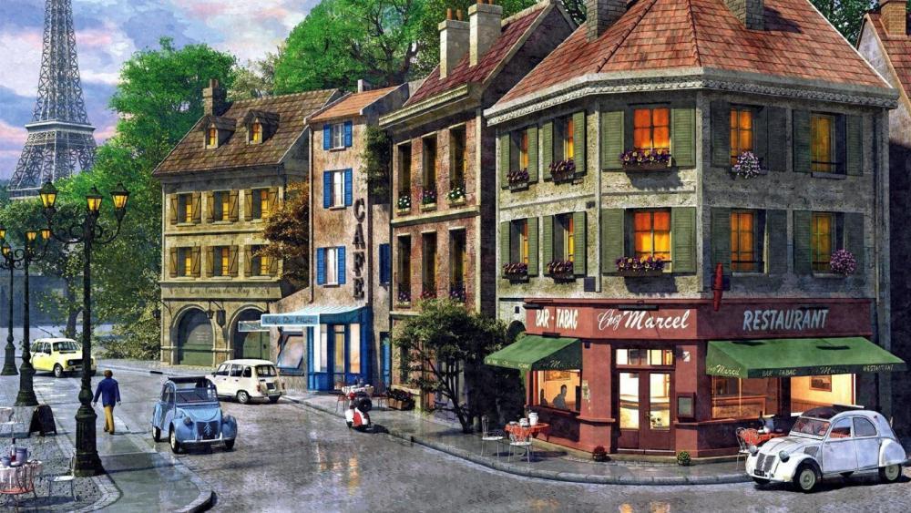 Paris street paiting wallpaper