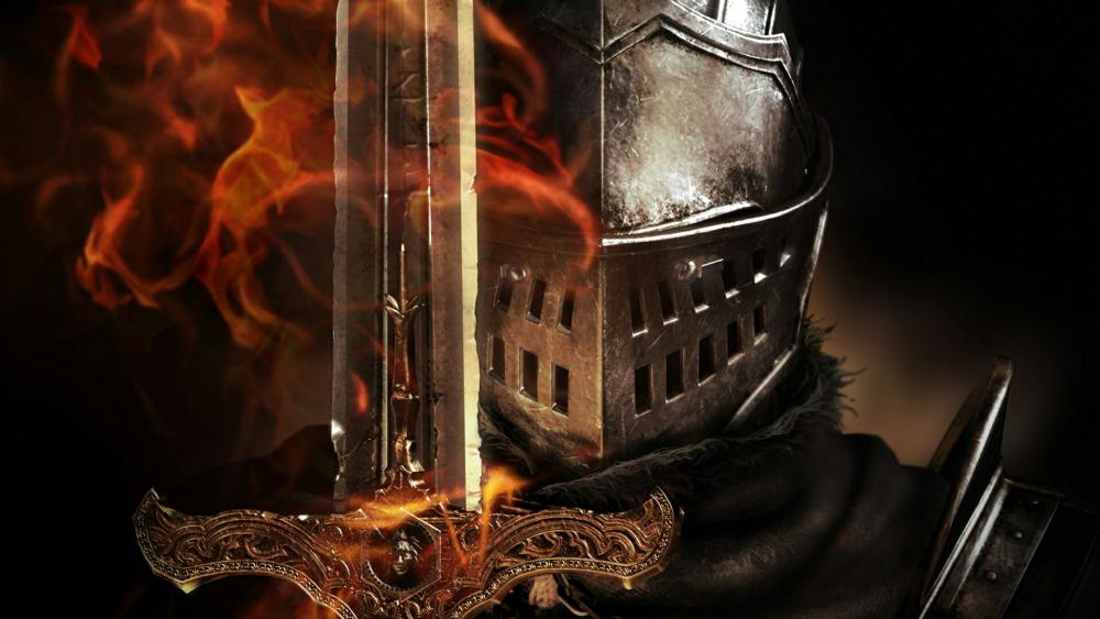 Knight helmet with sword wallpaper