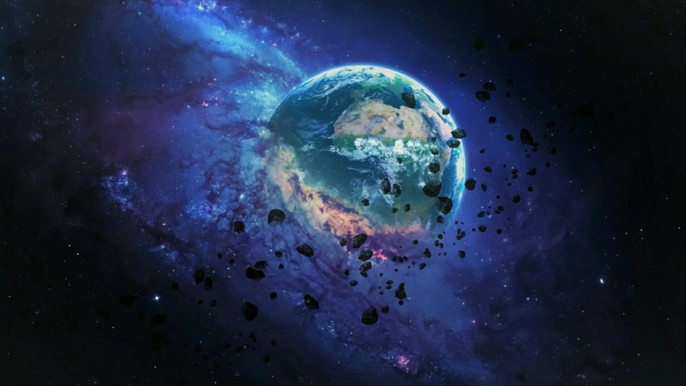Earth and meteors  wallpaper
