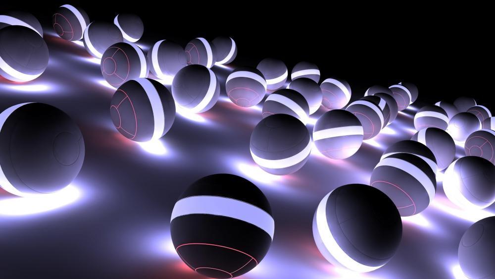 3D illuminating spheres wallpaper