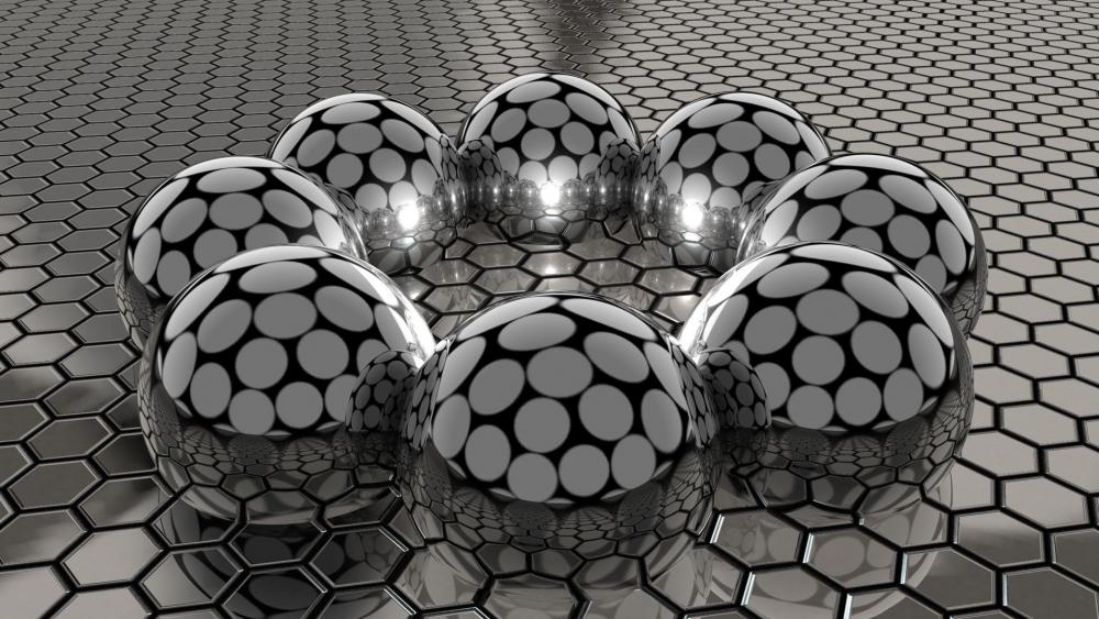 3D metal balls wallpaper