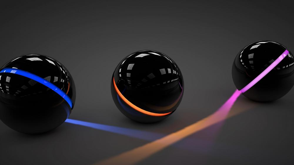 Illuminating 3D spheres wallpaper