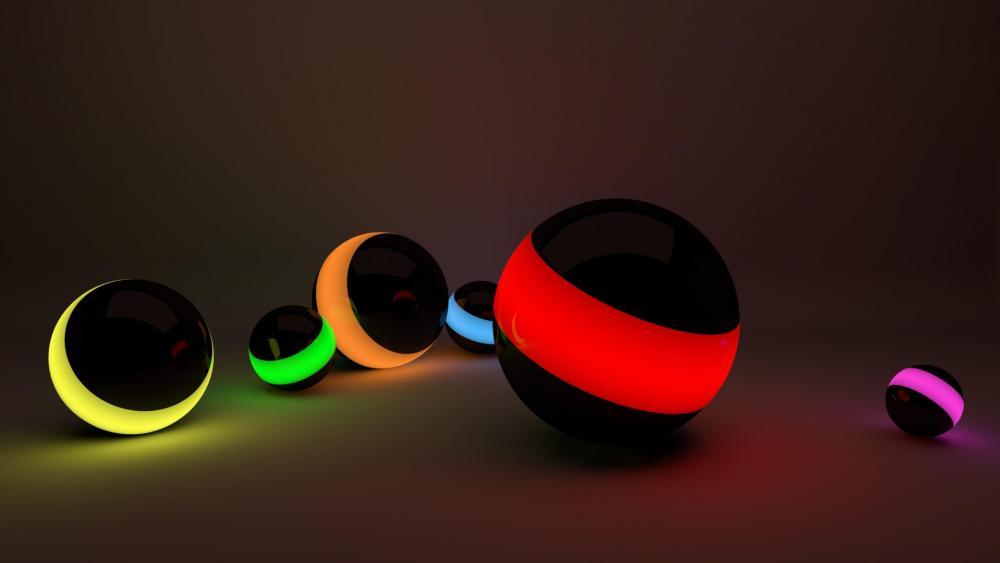 3D neon spheres wallpaper