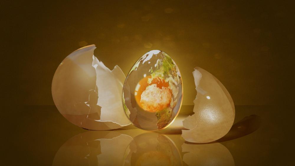 3D egg - Digital art wallpaper