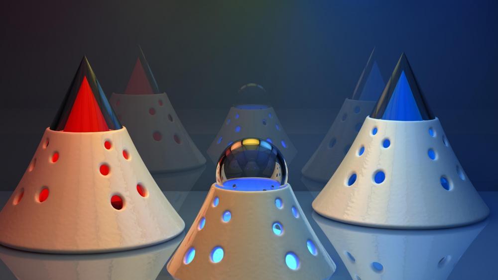 3D cones - Computer graphics wallpaper