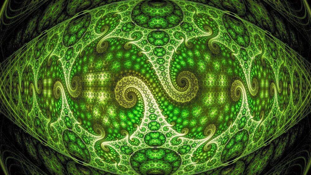 Green fractal art wallpaper