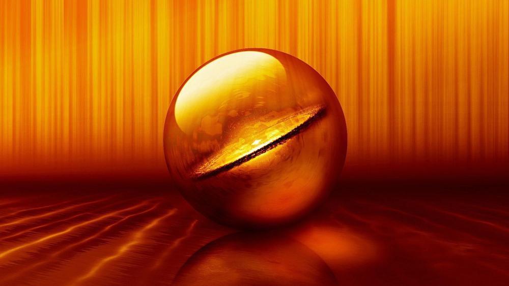 3D orange sphere digital art wallpaper