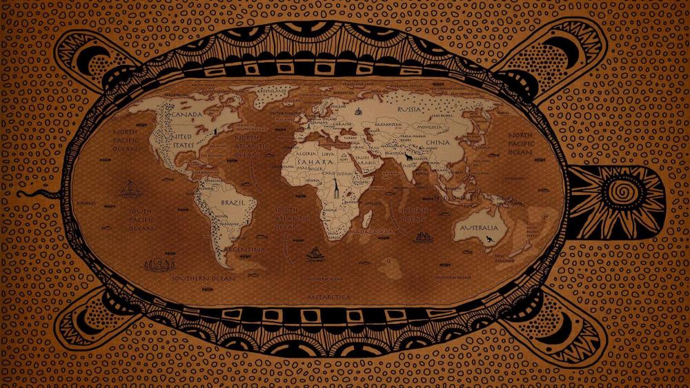 Turtle world map wallpaper