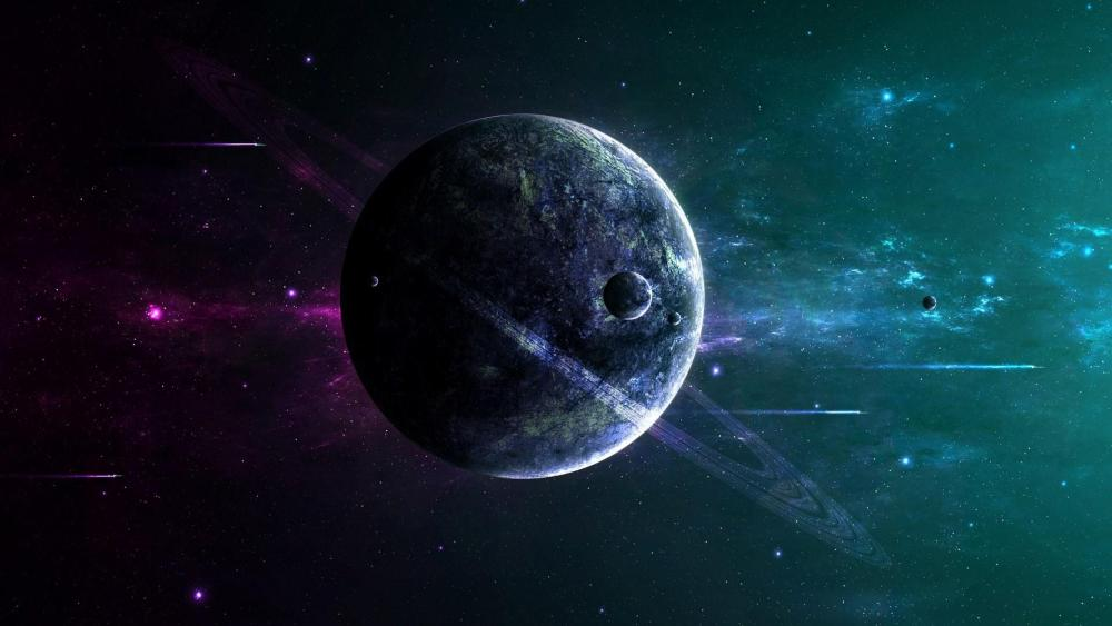 Science Fiction planet with rings wallpaper