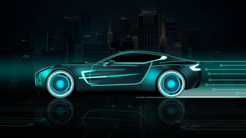 Neon Aston Martin wallpaper