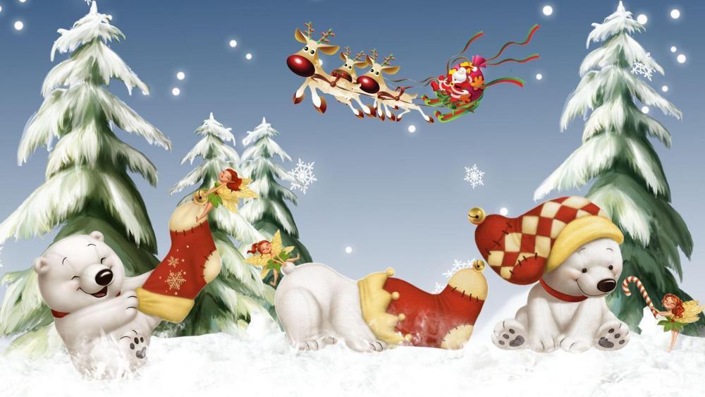 Santa Claus and Polar Bears wallpaper