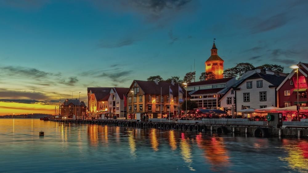 Stavanger at dusk (Norway) wallpaper