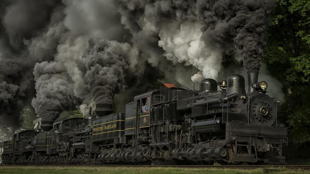 Powerful steam locomotive wallpaper