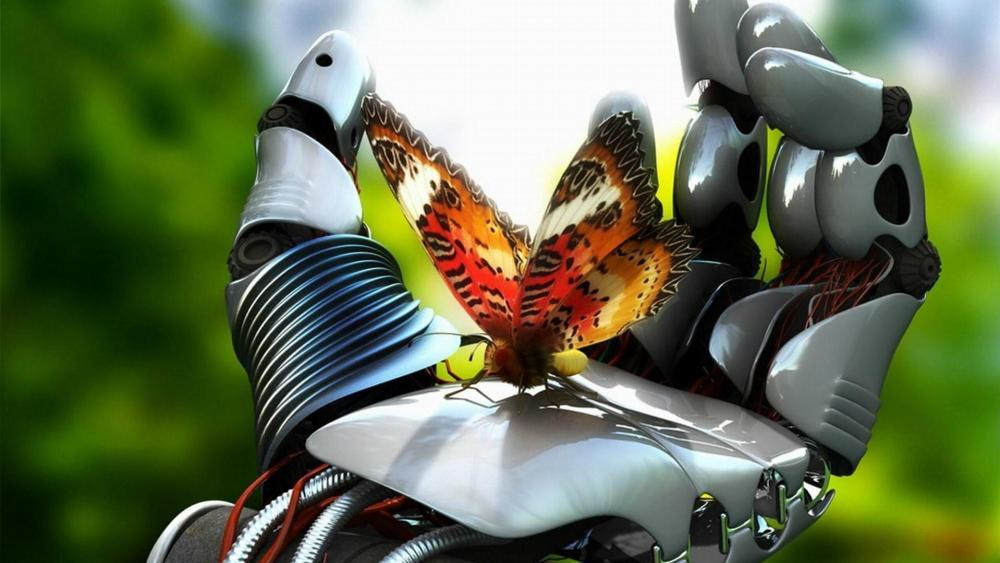 Butterfly on a robot hand wallpaper
