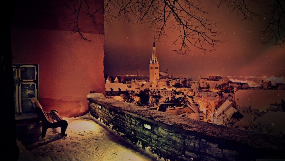 Night mood in Tallinn (Estonia) wallpaper
