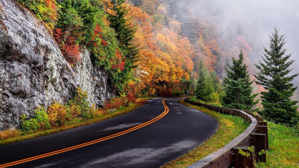 Fall mountain road wallpaper