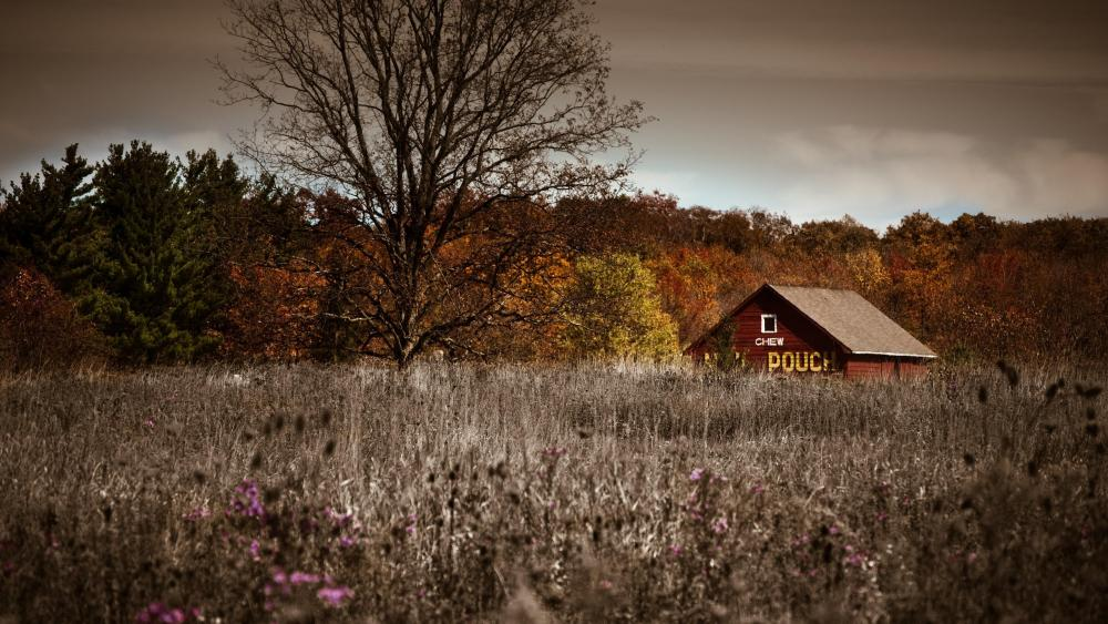 Autumn field with a barn wallpaper