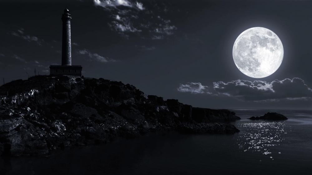 Lighthouse in the full moon wallpaper