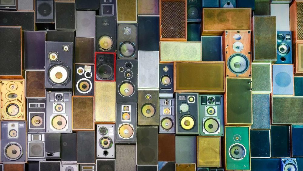 Wall of speakers wallpaper