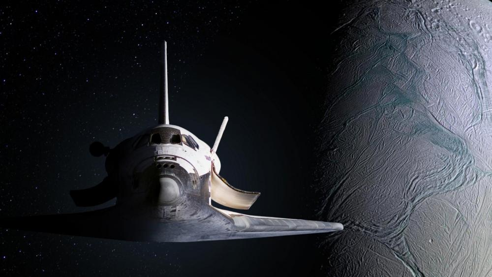 Space shuttle in the space wallpaper