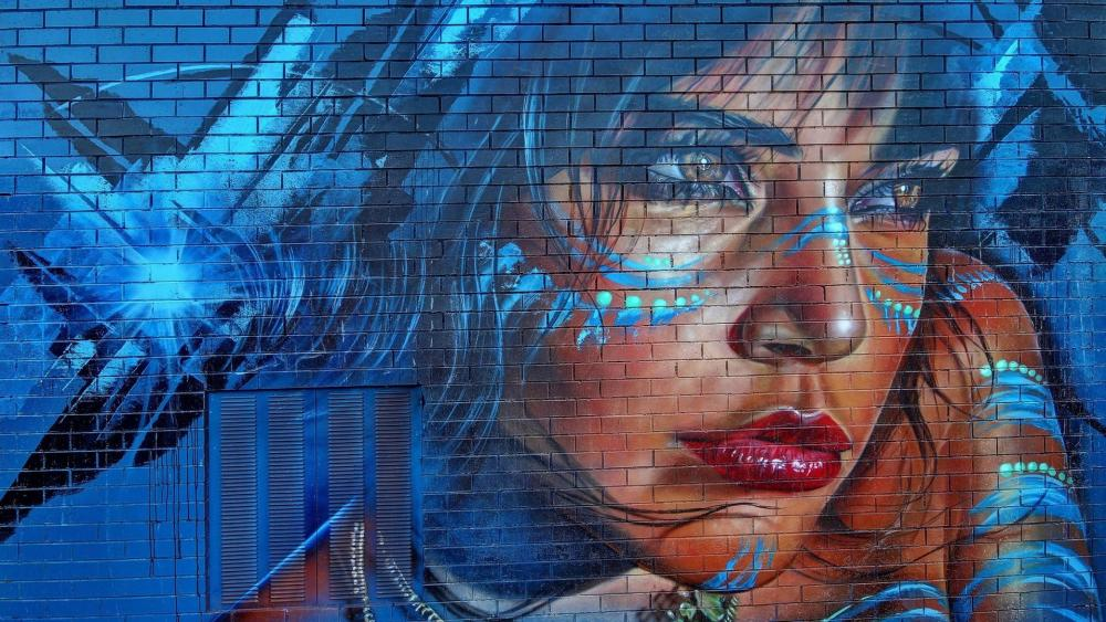 Woman face - Street art wallpaper