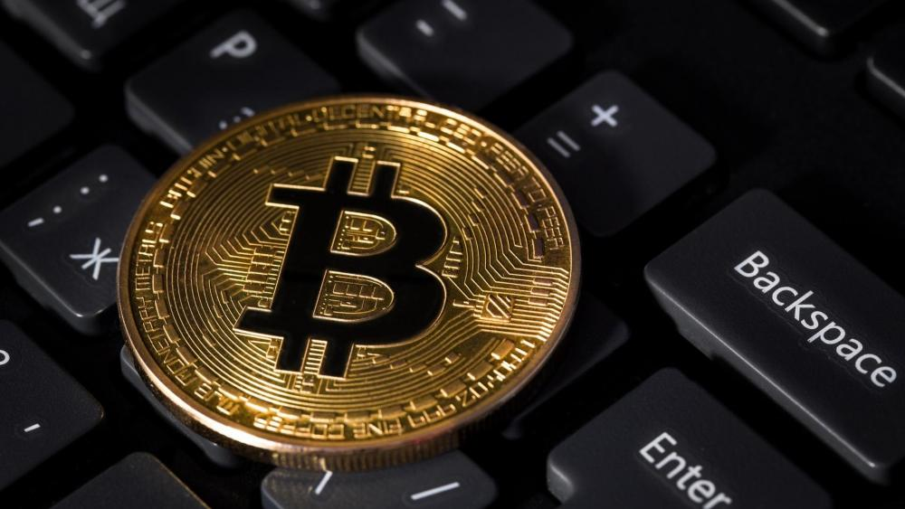 Bitcoin on the keyboard wallpaper