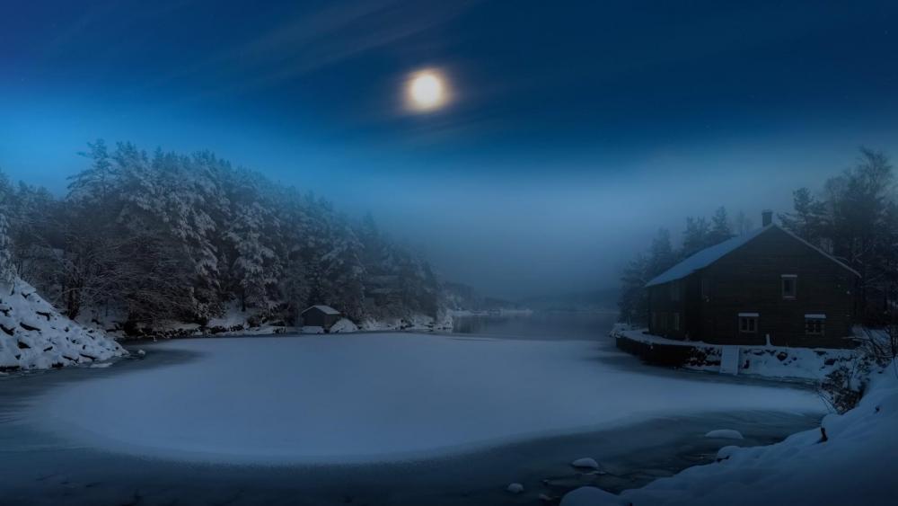 Frozen lake in the moonlight wallpaper