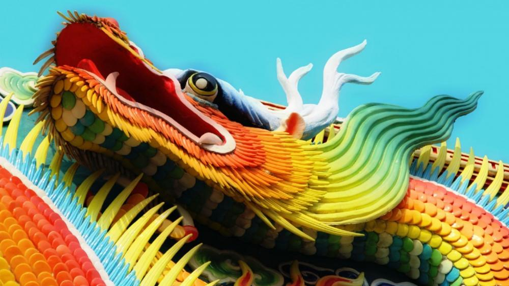Chinese dragon sculpture in a joss house wallpaper