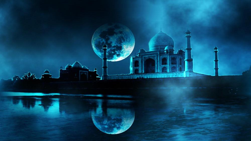 Taj Mahal in the full moon - Fantasy art wallpaper
