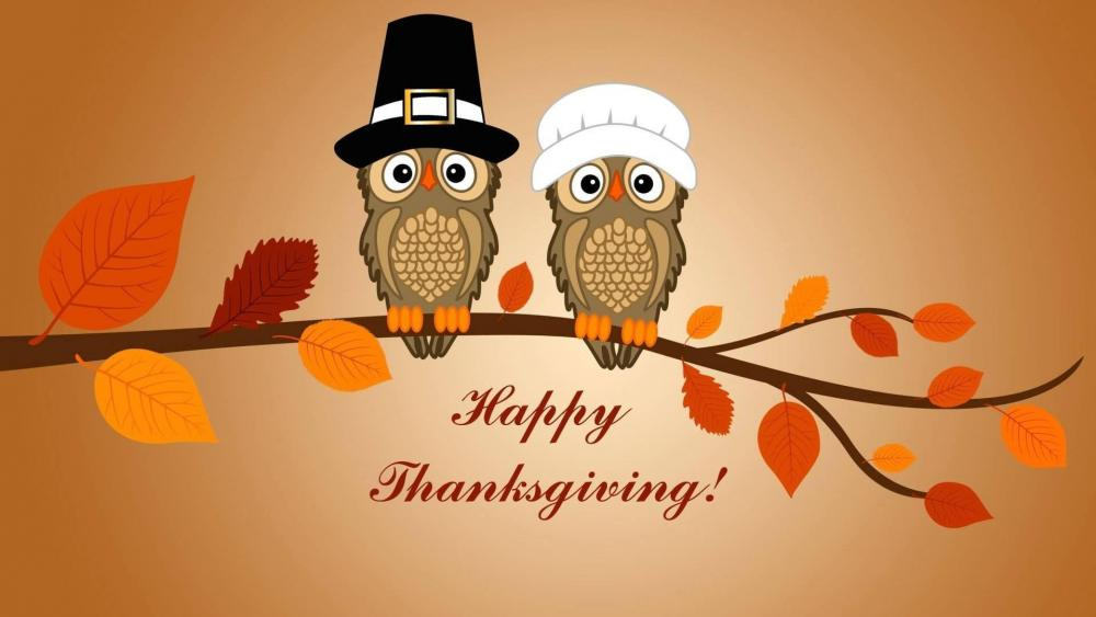 Happy Thanksgiving owls wallpaper