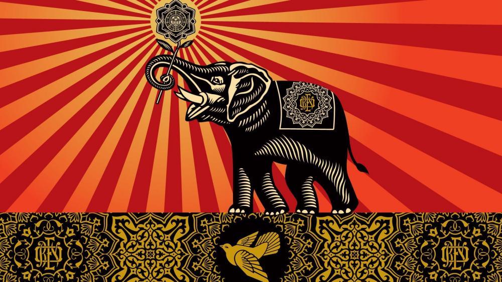 Elephant art wallpaper