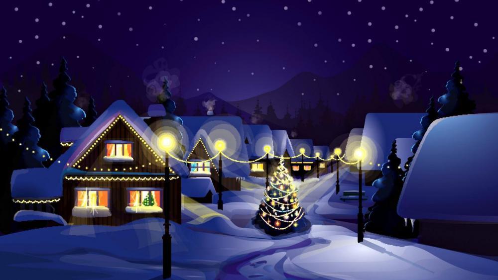 Christmas village illustration wallpaper