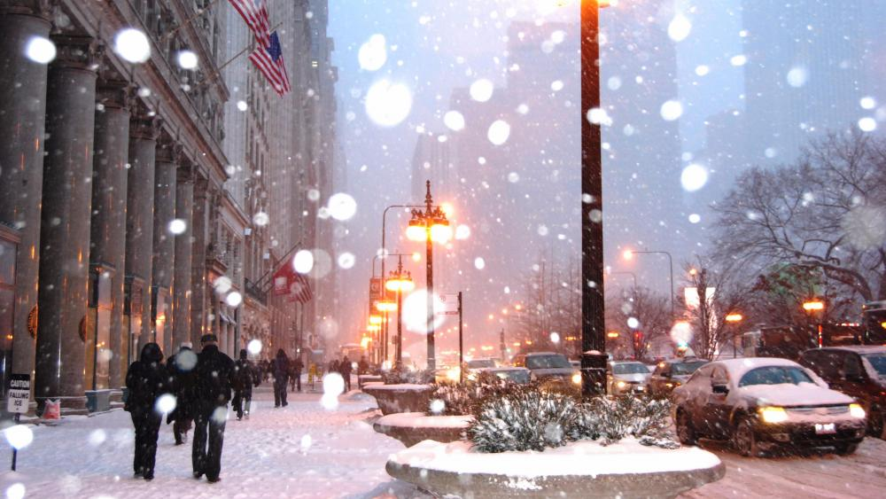 Chicago at winter wallpaper