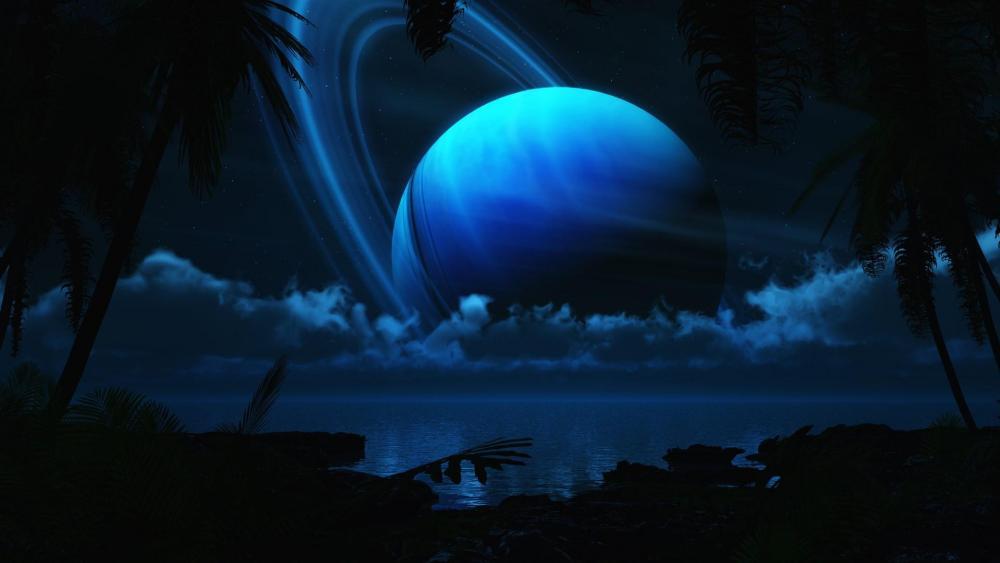 Blue planet over the sea - Fantasy art wallpaper