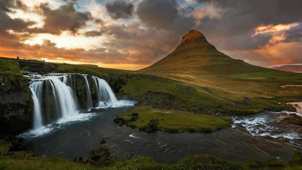 The iconic Kirkjufell Mountain and waterfalls wallpaper