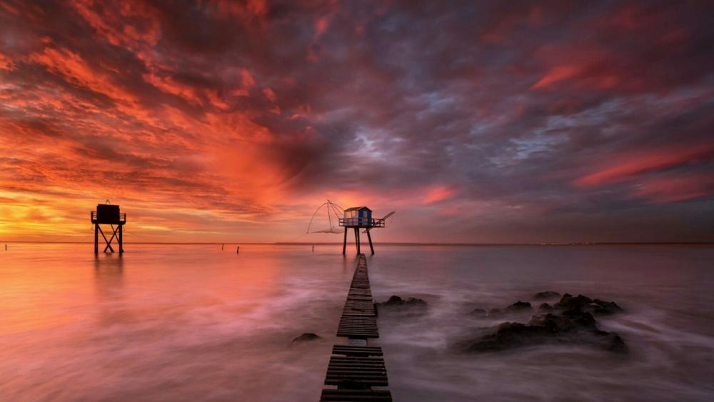 Long pier inthe sunset wallpaper