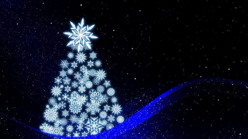 Blue Christmas tree illustration wallpaper