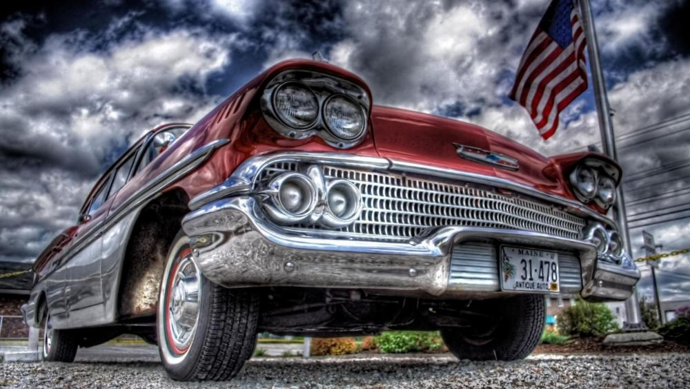 Old Cadillac car and the USA flag wallpaper