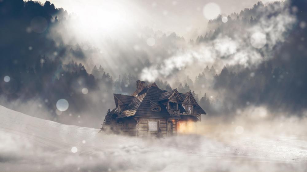 Log cabin in the blizzard wallpaper