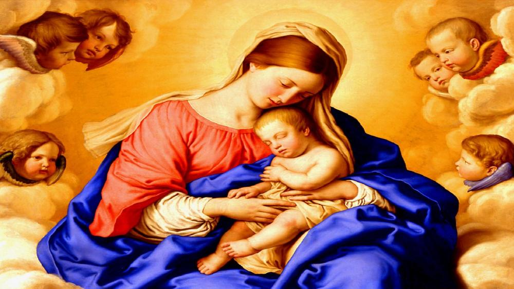 Virgin Mary with Child Jesus wallpaper