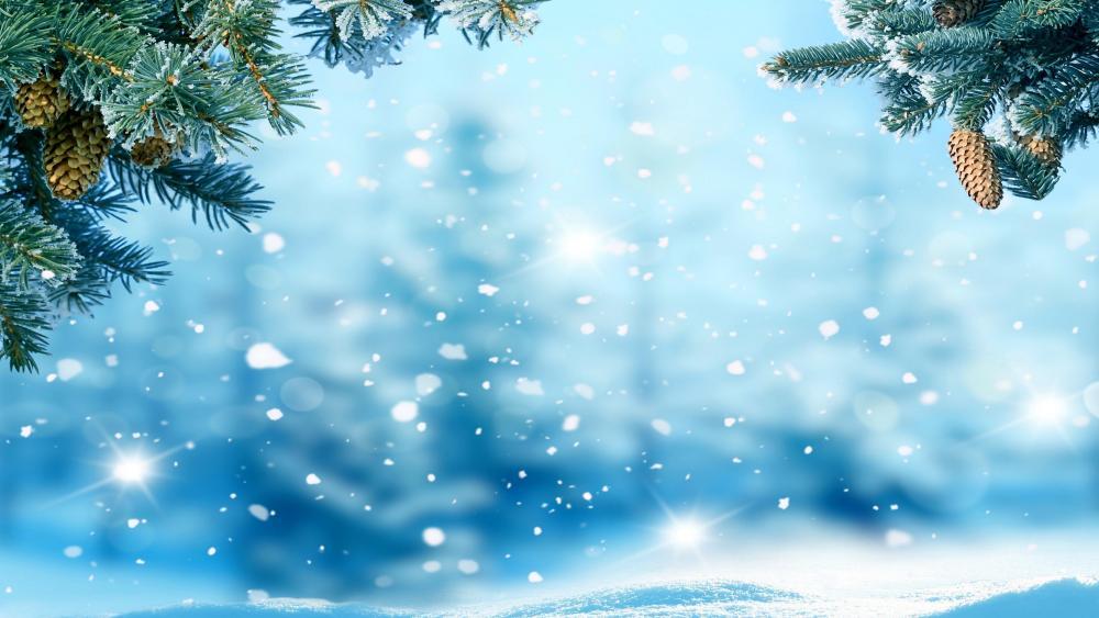 Christmas Day snowfall wallpaper
