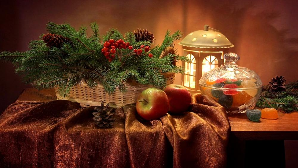 Winter still life wallpaper