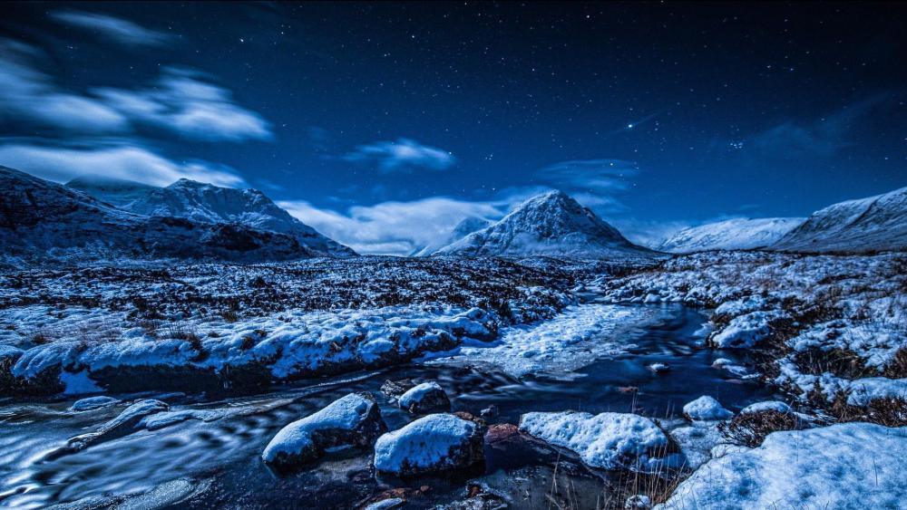 Night winter landscape wallpaper