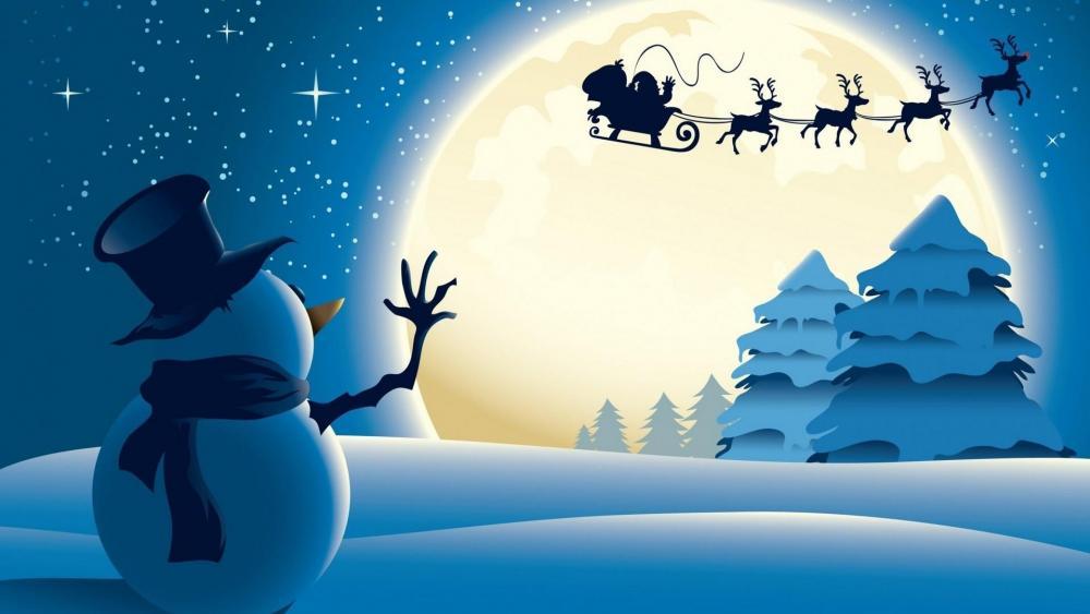Snowman and Santa Claus wallpaper