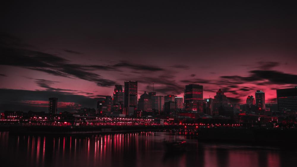 Pink sky over Montreal wallpaper
