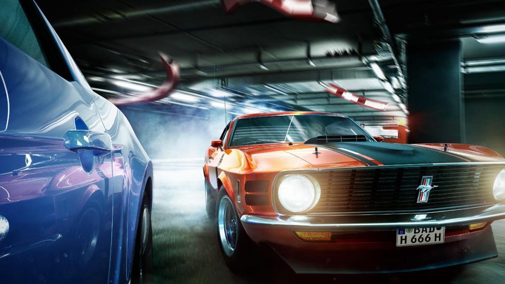 Ford Mustang Boss 302  VS. Ford Mustang Shelby GT500 wallpaper